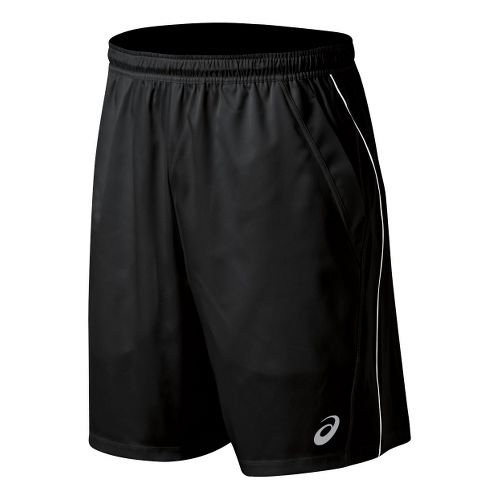 Mens ASICS Team Performance Tennis Unlined Shorts - Black/White M