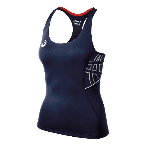 Womens ASICS Team Performance Tennis Tank Sport Top Bras - Navy/White XXL