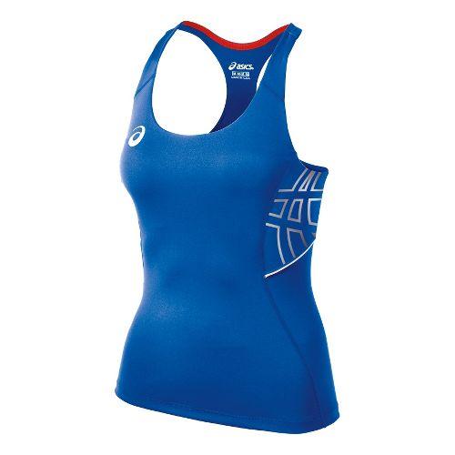 Womens ASICS Team Performance Tennis Tank Sport Top Bras - Royal/White L