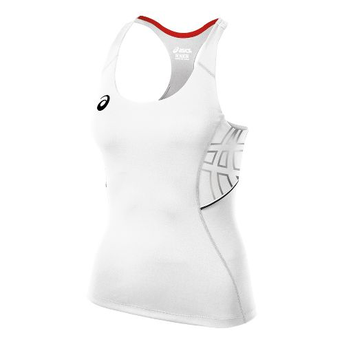 Womens ASICS Team Performance Tennis Tank Sport Top Bras - White/Black XS