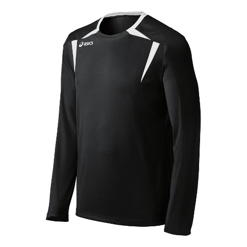 Mens ASICS Centerline Jersey Long Sleeve No Zip Technical Tops - Black/White M