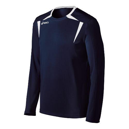 Mens ASICS Centerline Jersey Long Sleeve No Zip Technical Tops - Navy/White L
