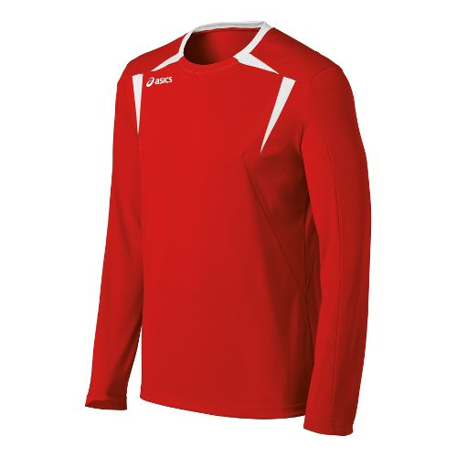 Mens ASICS Centerline Jersey Long Sleeve No Zip Technical Tops - Red/White XL