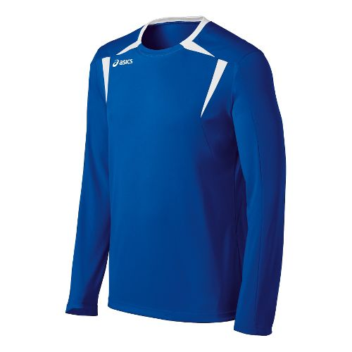 Mens ASICS Centerline Jersey Long Sleeve No Zip Technical Tops - Royal/White L