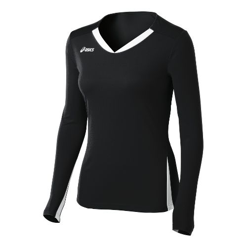 Womens ASICS Centerline Jersey Long Sleeve No Zip Technical Tops - Black/White XL