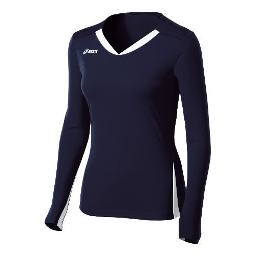 Womens ASICS Centerline Jersey Long Sleeve No Zip Technical Tops - Navy/White XXL