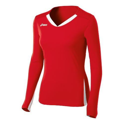 Womens ASICS Centerline Jersey Long Sleeve No Zip Technical Tops - Red/White XS