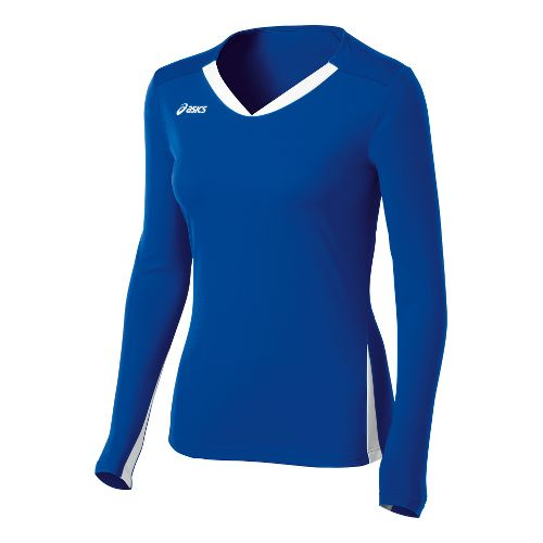 Womens ASICS Centerline Jersey Long Sleeve No Zip Technical Tops - Royal/White XS