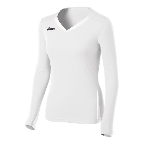 Womens ASICS Centerline Jersey Long Sleeve No Zip Technical Tops - White XS