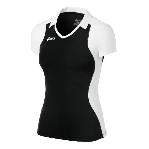 Womens ASICS Attacker Cap Sleeve Short Sleeve Technical Tops - Black/White L