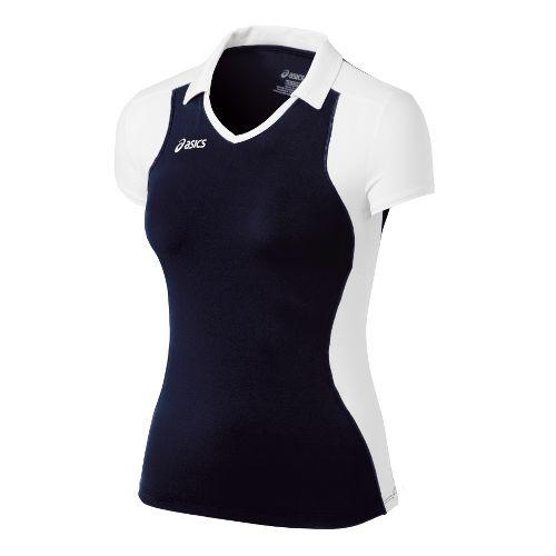Womens ASICS Attacker Cap Sleeve Short Sleeve Technical Tops - Navy/White XXL