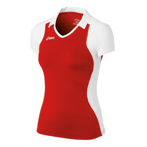 Womens ASICS Attacker Cap Sleeve Short Sleeve Technical Tops - Red/White L
