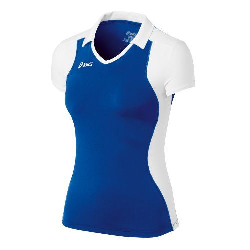 Womens ASICS Attacker Cap Sleeve Short Sleeve Technical Tops - Royal/White L