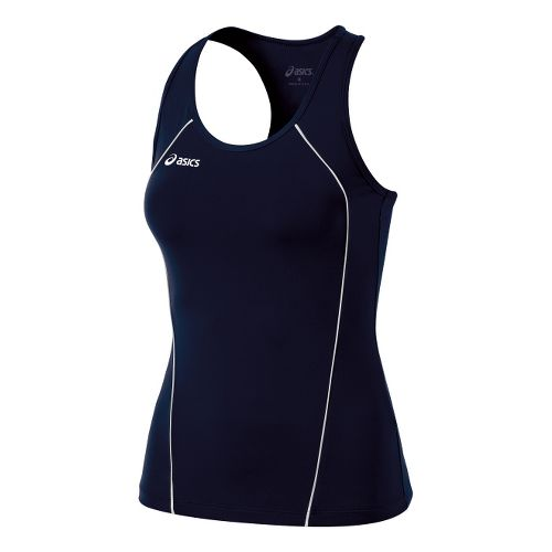 Womens ASICS Attacker Tanks Technical Tops - Navy/White L