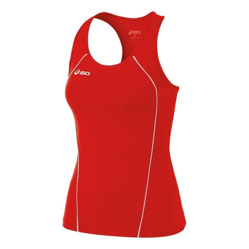 Womens ASICS Attacker Tanks Technical Tops - Red/White XS