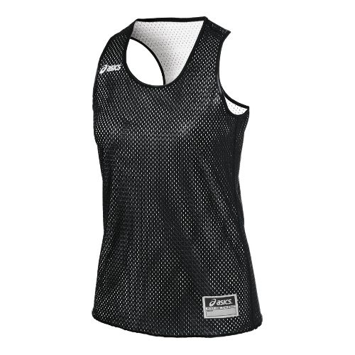 Womens ASICS Field Scrimmage Vest Tanks Technical Tops - Black/White S/M