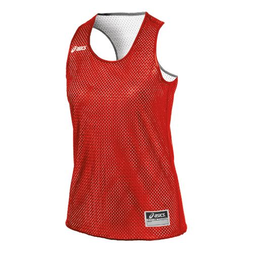 Womens ASICS Field Scrimmage Vest Tanks Technical Tops - Red/White L/XL