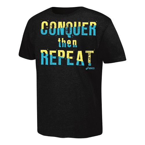 ASICS Conquer Then Repeat T Short Sleeve Non-Technical Tops - Black XXL