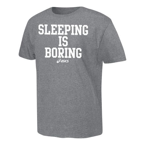 ASICS Sleeping is Boring T Short Sleeve Non-Technical Tops - Heather Grey M