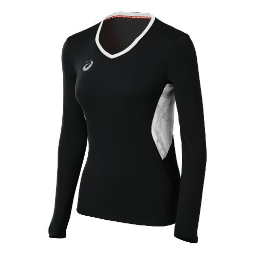 Womens ASICS Team Performance VB Long Sleeve No Zip Technical Tops - Black/White XS
