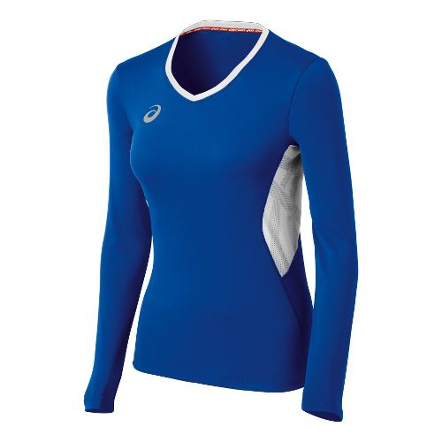 Womens ASICS Team Performance VB Long Sleeve No Zip Technical Tops - Royal/White XS