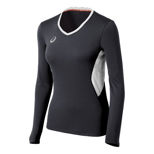 Womens ASICS Team Performance VB Long Sleeve No Zip Technical Tops - Steel/White M