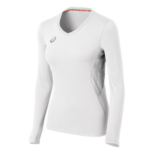 Womens ASICS Team Performance VB Long Sleeve No Zip Technical Tops - White XS