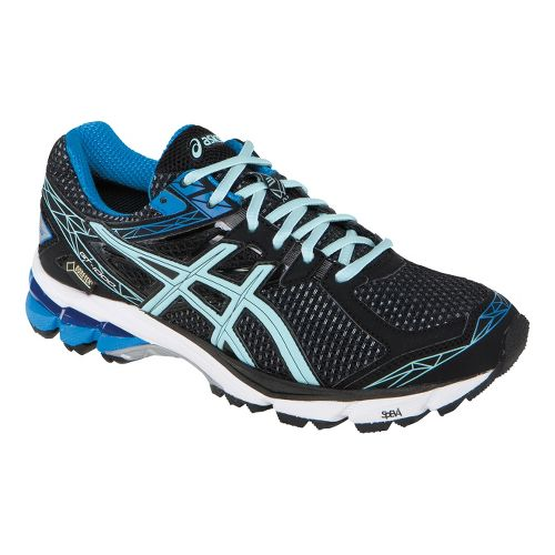 Womens ASICS GT-1000 3 G-TX Trail Running Shoe - Black/Ice Blue 10.5