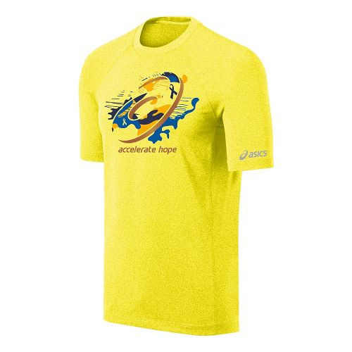 Mens ASICS Tilted Spiral Tee Short Sleeve Technical Tops - Flash Yellow/Gold Fusion M
