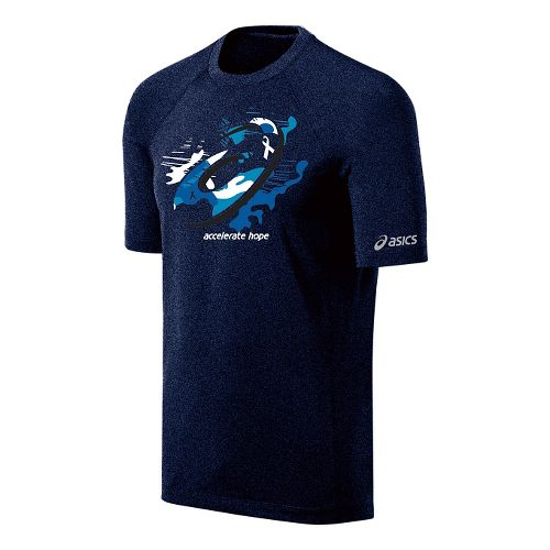 Mens ASICS Tilted Spiral Tee Short Sleeve Technical Tops - True Navy/Aquarius M