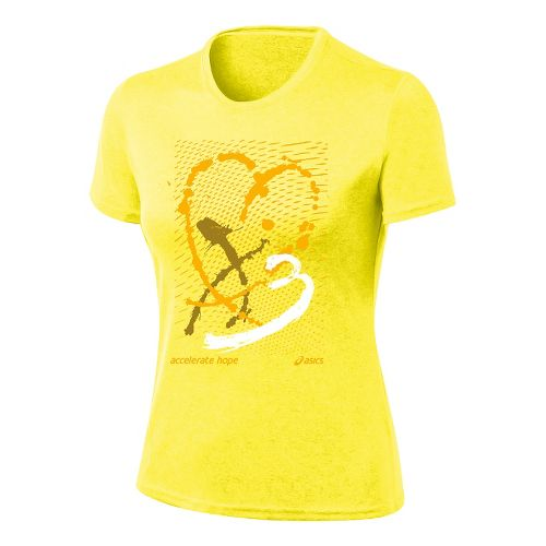 Womens ASICS Paint My Heart Tee Short Sleeve Technical Tops - Flash Yellow/Gold Fusion S ...