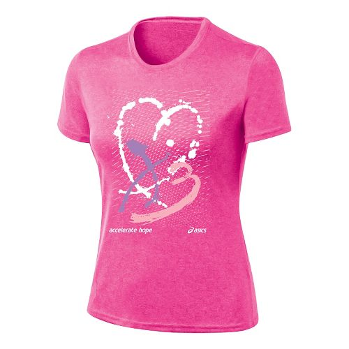 Womens ASICS Paint My Heart Tee Short Sleeve Technical Tops - Knock Out/Petal Pink L ...