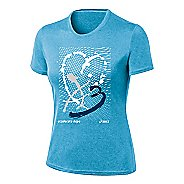 Womens ASICS Paint My Heart Tee Short Sleeve Technical Tops