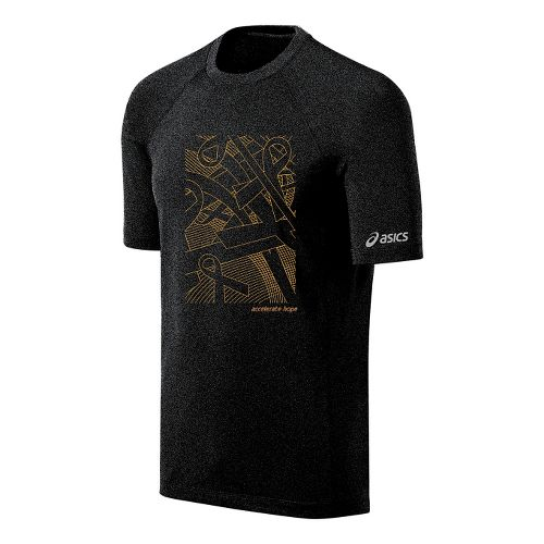 Mens ASICS Floating Ribbons Tee Short Sleeve Technical Tops - Black/Gold Fusion L