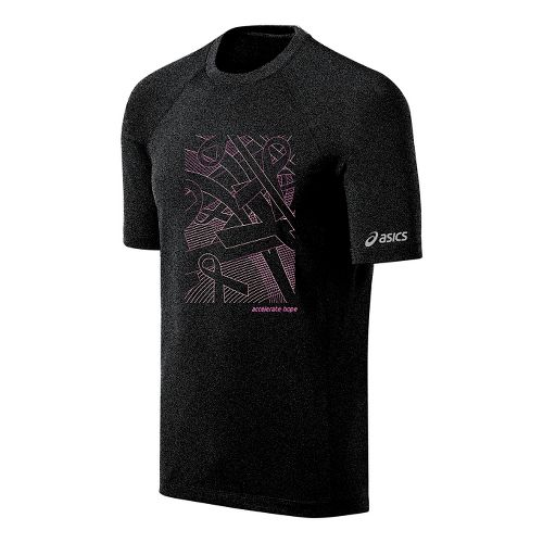 Mens ASICS Floating Ribbons Tee Short Sleeve Technical Tops - Black/Petal Pink M
