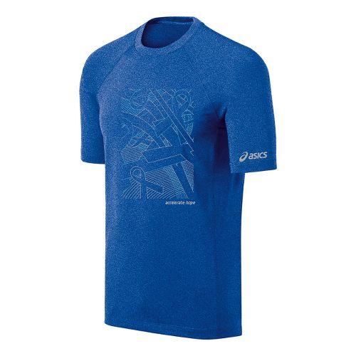 Mens ASICS Floating Ribbons Tee Short Sleeve Technical Tops - New Blue/Aquarius L