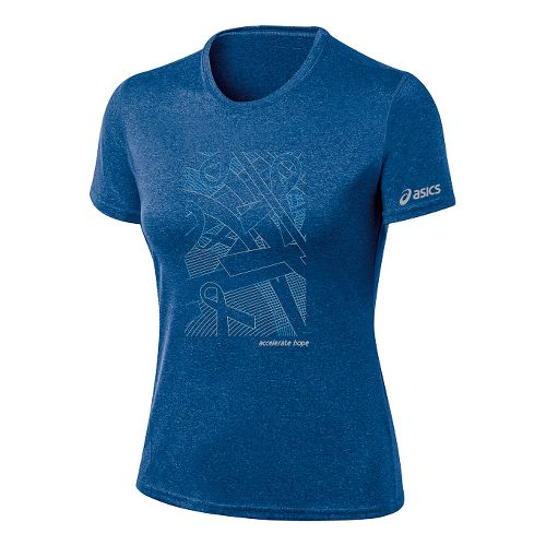 Womens ASICS Floating Ribbons Tee Short Sleeve Technical Tops - New Blue/Aquarius S