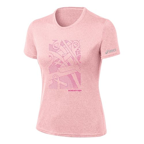 Womens ASICS Floating Ribbons Tee Short Sleeve Technical Tops - Petal Pink/PinkGlo XS