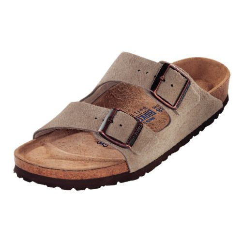 Womens Birkenstock Arizona Soft Footbed Sandals Shoe - Taupe Suede 38