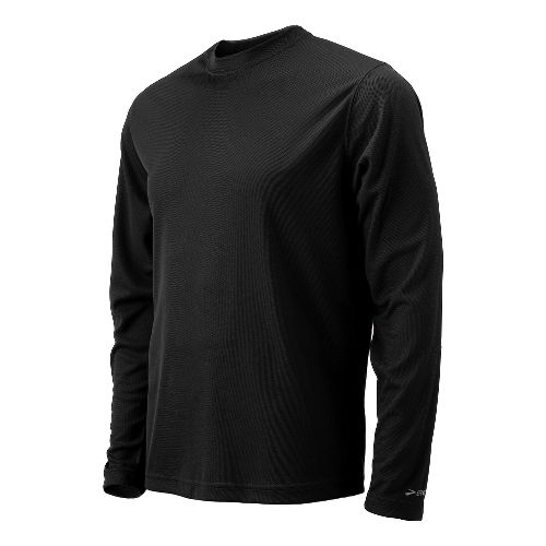 Mens Brooks Podium Long Sleeve No Zip Technical Tops - Black M