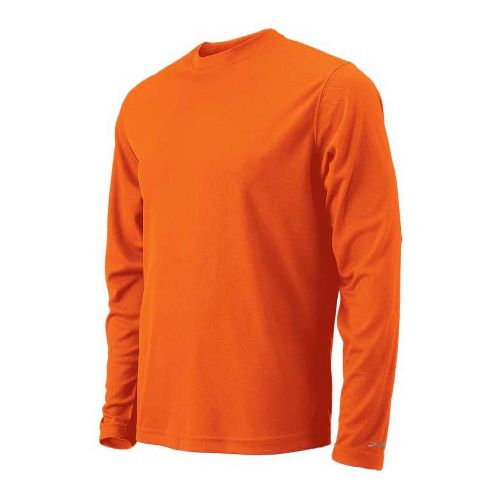 Mens Brooks Podium Long Sleeve No Zip Technical Tops - Brite Orange S