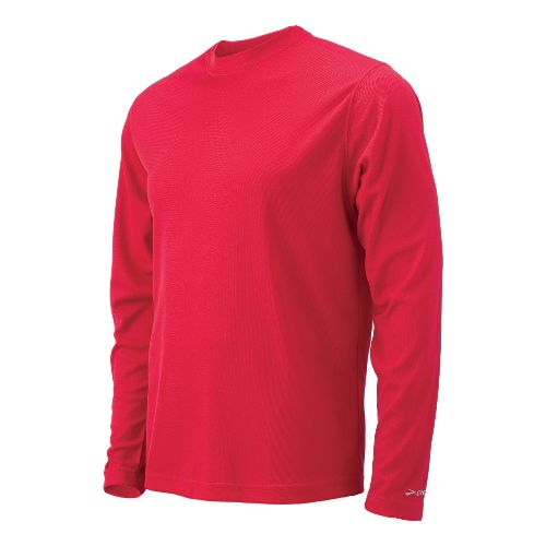 Mens Brooks Podium Long Sleeve No Zip Technical Tops - Red S