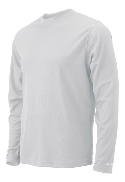 Mens Brooks Podium Long Sleeve No Zip Technical Tops - White XL
