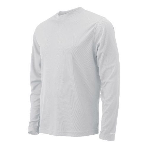 Mens Brooks Podium Long Sleeve No Zip Technical Tops - White XS
