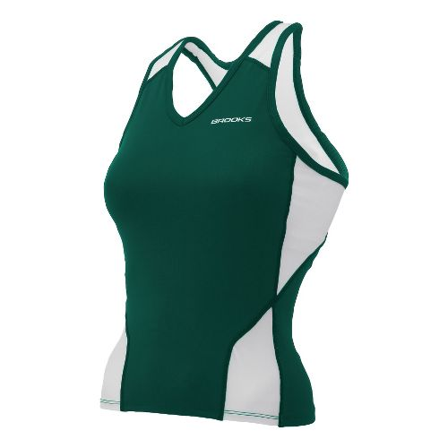 Womens Brooks Mach IX Shimmel Tank Technical Tops - Forest/White XL