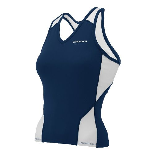 Womens Brooks Mach IX Shimmel Tank Technical Tops - Navy/White M