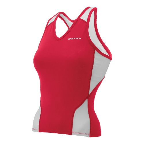 Womens Brooks Mach IX Shimmel Tank Technical Tops - Red/White XS