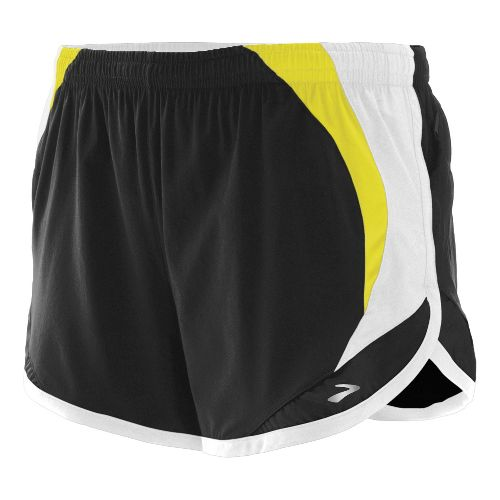 Womens Brooks Infinity II Lined Shorts - Black/Limeade XS