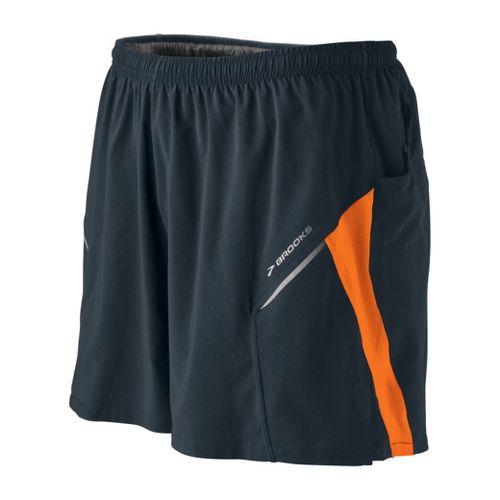 Mens Brooks Sherpa III Lined Shorts - Anthracite/Brite Orange S