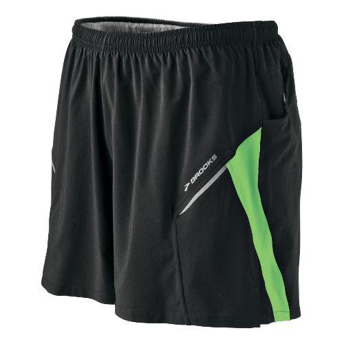 Mens Brooks Sherpa III Lined Shorts - Black/Bali Green S